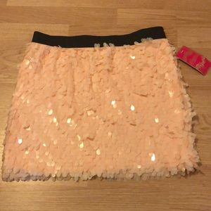 Pink sequin mini skirt
